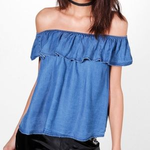 style envy • ruffle off the shoulder top
